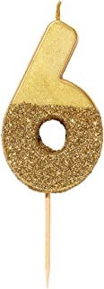 Talking Tables Gold Glitter Number 6 Candle-Premium Quality Cake Topper Decoration Pretty, Sparkly For Kids, Adults, 16th,...