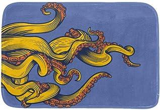EGGDIOQ Doormats Yellow Octopus Feet Custom Print Bathroom Mat Waterproof Fabric Kitchen Entrance Rug, 23.6 x 15.7in