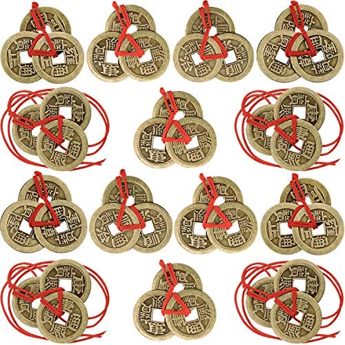 Chinese Fortune Coins Feng Shui Coins I-Ching Coins Traditional Coins with Red String for Wealth and Success, 5 Styles (10)