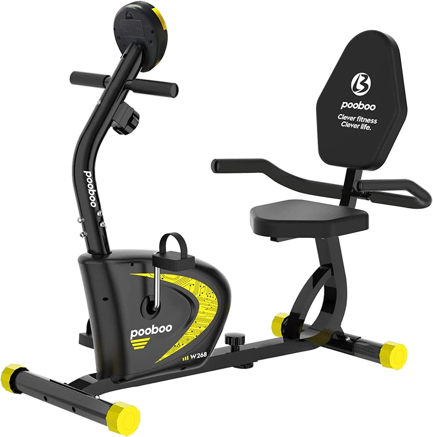 Best For Beginners - pooboo Recumbent Exercise Bike, Indoor Cycling Bike Adjustable Magnetic Resistance and Seat