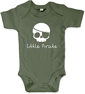 net-shirts Organic Baby Body mit Little Pirate Aufdruck Spruch lustig Strampler Babybekleidung aus Bio-Baumwolle mit Zertifikat
