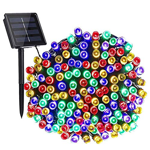 200 LEDs Solar String Lights Multicolor 39.4 Feet Decorative Lights 8 Modes IP65 Waterproof Indoor Outdoor LED String Lights Colorful for Room Christmas Tree Parties Wedding Street Patio Yard Mall