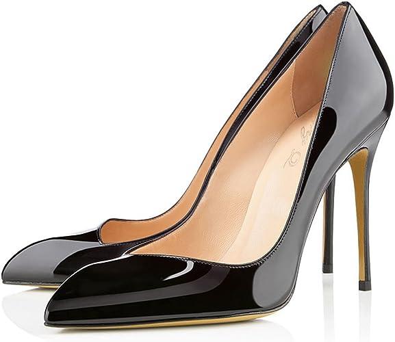 DYF Chaussures pour Femmes Grande Taille Couleur Bosse Haut Talon Pointu Bouche Peu Profondes,noir,45