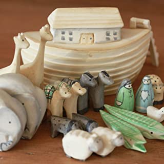Noah's Ark Gift Boxed Set Hand Carved & Painted Christening New Baby Gift