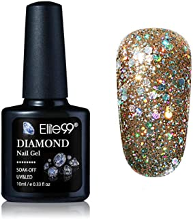 Elite99 10ml Diamond Glitter UV Gel Varnish Shiny Sequins Soak Off Gel Nail Polish Vernis Semi Permanent Nail Art Manicure Gel (ZSJV05)