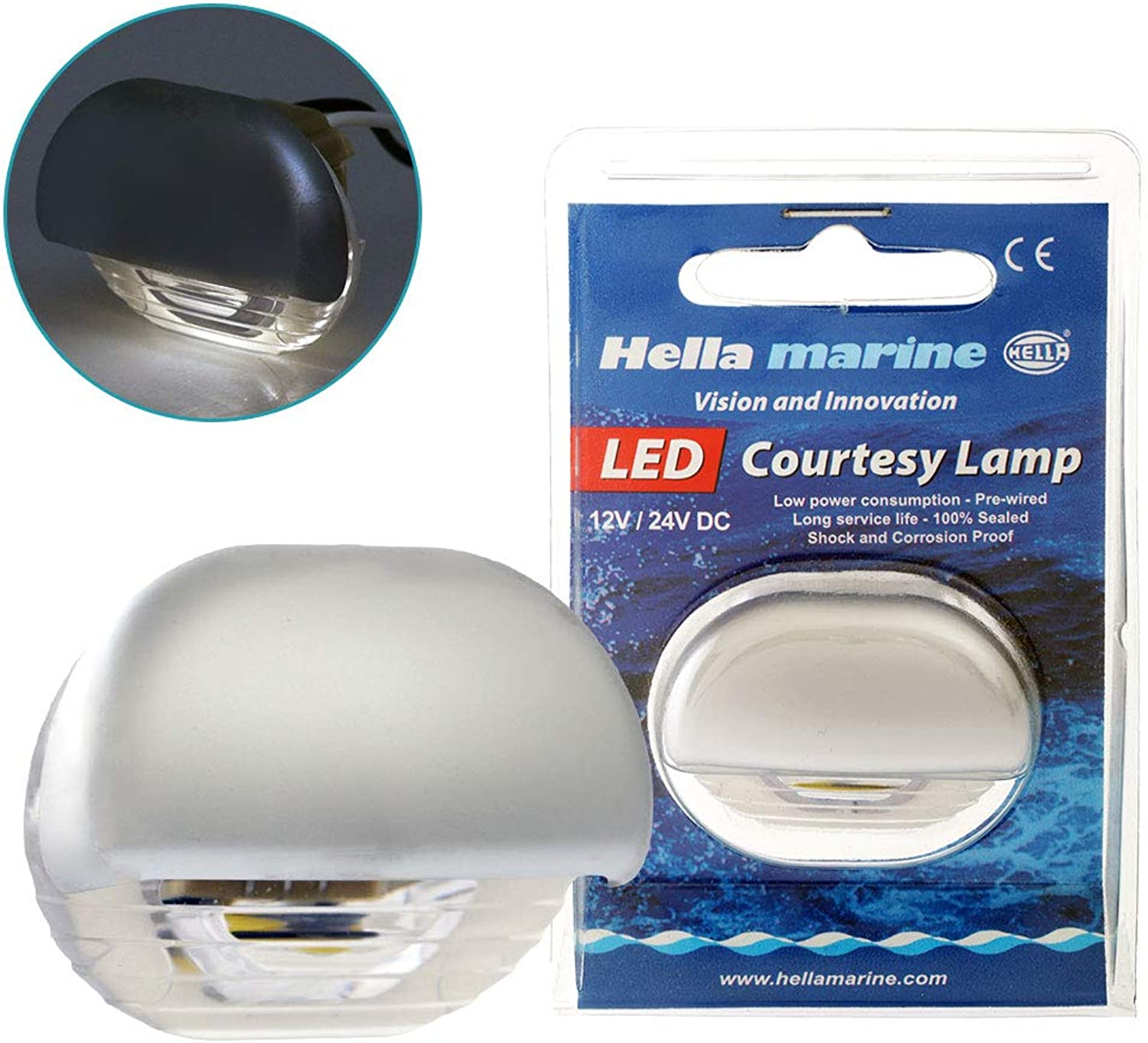 Hella Marine 0.5w LED Easy Fit Step Lamp with Satin Chrome Plated Cap Warm White