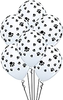 Qualatex Paw Prints-A-Round Biodegradable Latex Balloons, White with Black paw prints..