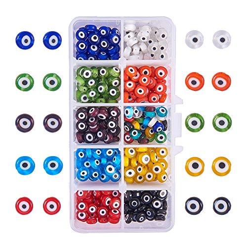NBEADS 10 Tipos de 350 Cuentas Redondas de 8 mm de Espesor para El Mal de Ojo, Abalorios Espaciadores de Colores, Cuentas Sueltas para Pulseras, Collares, Bisutería.