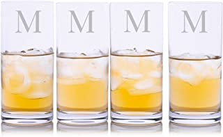 Personalized Crystalize Crystal Highball Cocktail Glass w/Titanium 4pc. Set by Crystalize Engraved & Monogrammed - Great Gift for Weddings and Groomsmen