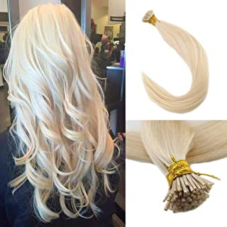 Full Shine 6d Extensions Human Hair 16 Inch I Tip Hair Extensions Color #60 Platinum Blonde 0.8g Per Strand 40g Per Package Pre Bonded Hair Extensions Remy Hair