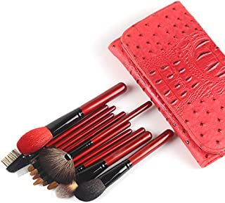 Foundation Blending Blush Concealer Eye Shadow Cruelty-Free Synthetic Fiber 12pcs Premium Cosmetic Makeup Brush Set for Make-Up Tools (Color : Red, Size : Free)