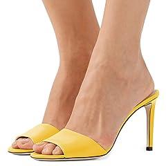 7e69f02381e8 FSJ Women Casual Peep Toe Mule Sandals Stiletto High Heels Pa .