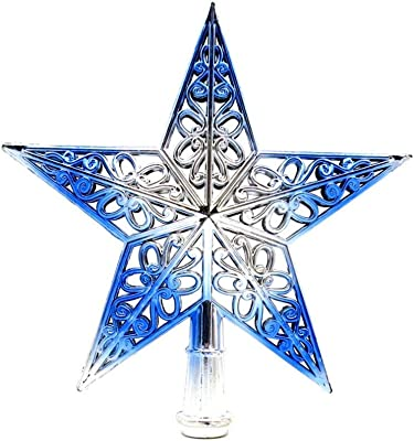 Soochat Christmas Star Tree Topper Hollowed-Out Silver Glittered Metal Hallow Tree Star Unique Design Xmas Tree Topper Decoration Ornaments Home Decor (Silvery Blue)