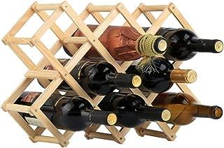 Wood Wine Rack Holder Free Standing Home Kitchen Cabinet Wooden Racks Stand Foldable Wine Storage Organizer - Natural Wood, 10 Slot