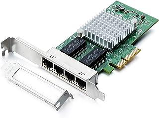 H!Fiber.com 1.25 جيجا جيجا بايت إيثرنت محول شبكة متبادلة (NIC)، متوافق مع Intel I350-T4، منافذ RJ45 رباعية النحاس، PCI Exp...