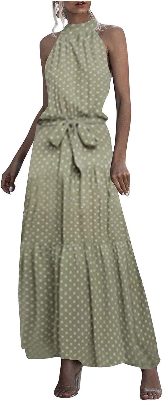 JPLZi Women Dress Halter Neck Boho Floral Print Sleeveless Casual Backless Maxi Dresses with Belt