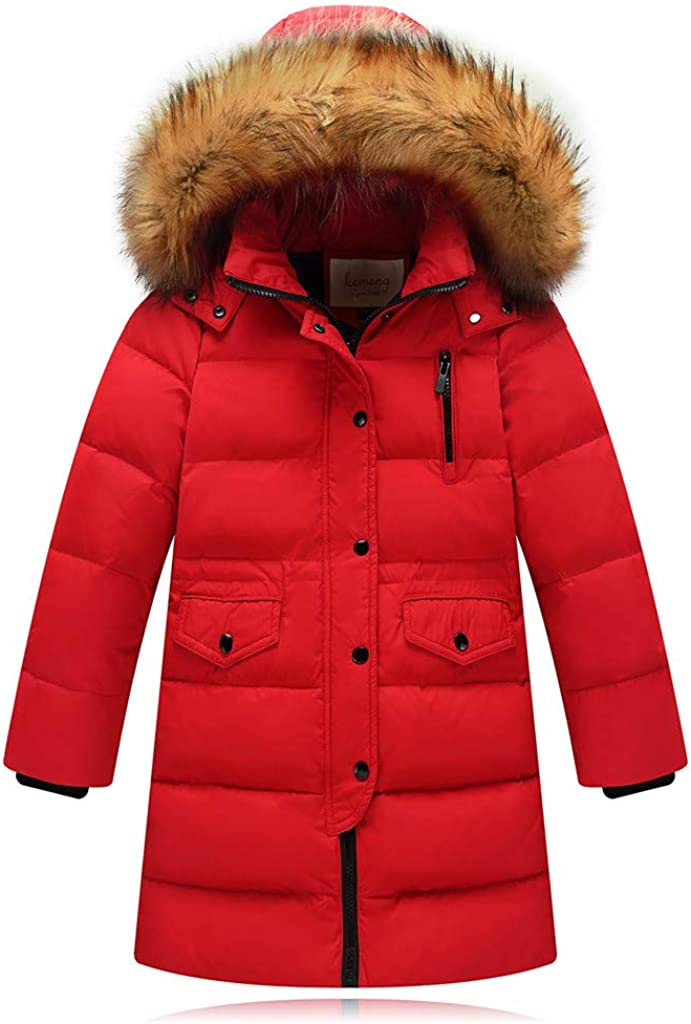 WOCACHI Max 44% OFF Girls Atlanta Mall Down Parka Little Big Removable Hooded Wint