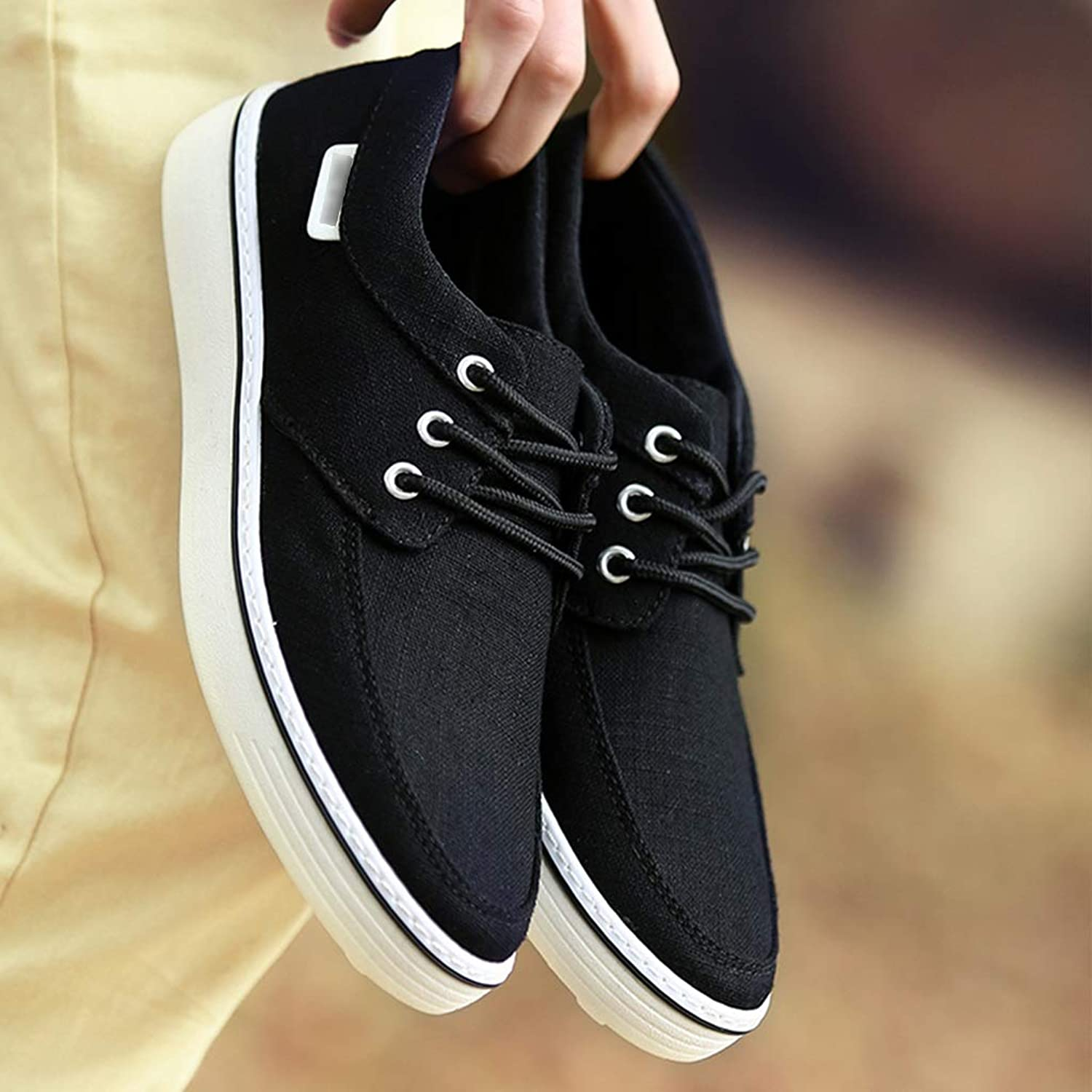 WangKuanHome Summer breathable canvas shoes trend board shoes men's wild casual canvas shoes men's shoes (color   Black, Size   46)