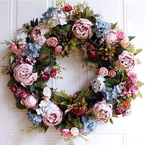 WHL Hängender Kranz Große Pfingstrose Garland 50cm Gefälschte Blumen Künstliche Kranz hängende Tür-Dekoration Tür Kränze for alle Jahreszeiten Heimtextilien