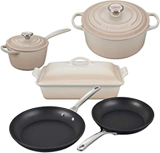 Le Creuset 8 Piece Multi-Purpose Enameled Cast Iron with SS Knobs, Stoneware, and Toughened Nonstick PRO Fry Pan Complete ...