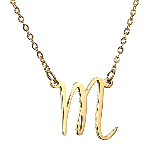 14K Gold Necklace with Letter M: Amazon.com