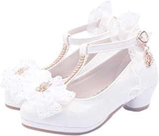 YOGLY Zapatos de Princesa de Bowknot Zapatos de Tacón Alto de Moda para Niñas Zapatilla de Baile