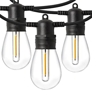 LED Outdoor String Lights 48FT with Edison Vintage Shatterproof Bulbs and Commercial Grade Weatherproof,Heavy-Duty Decorat...