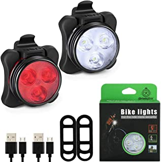 WolfonFire USB Rechargeable Bike Light Set, Universal Super Bright Front Headlight and Free Rear LED Bicycle Light 4 Light Mode Options, Water Resistant IPX4(2 USB Plugs and 2 Strap Included)