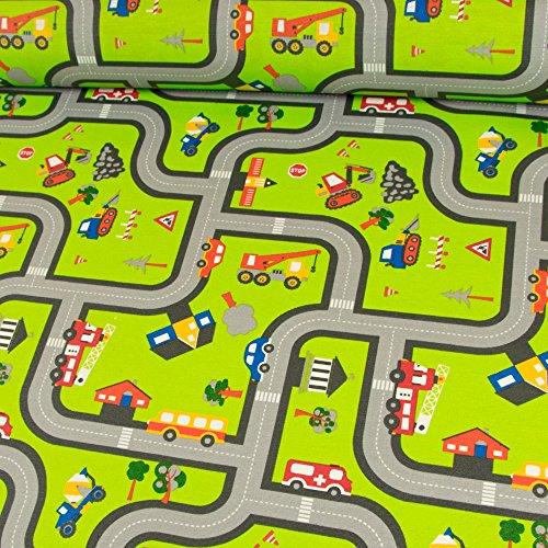 Stoffe Werning Dekostoff beschichtet Straße grün Tischdecke Autos Kinderstoffe - Preis Gilt für 0,5 Meter