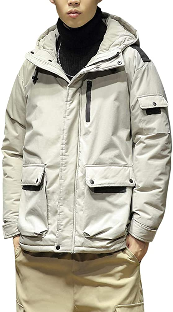 YFFUSHI Men's Padded Jacket Winter Thicken Hooded Warm Puffer Coat Quilted Coat