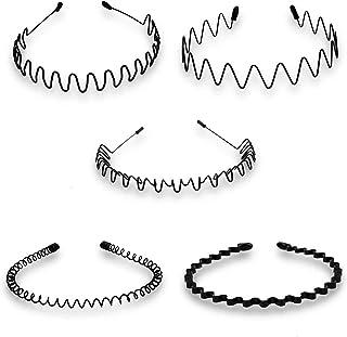 5 PCS Black Spring Wavy Metal Hair Hoop Band Men Women Sports Headband Metal Headbands Wavy Hairband Spring Hair Hoop Blac...