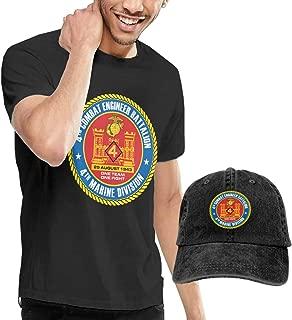 KFR&KNED 4th Combat Engineer Battalion Men's Cotton Crewneck Short Sleeve T-Shirts and Washed Baseball Cap