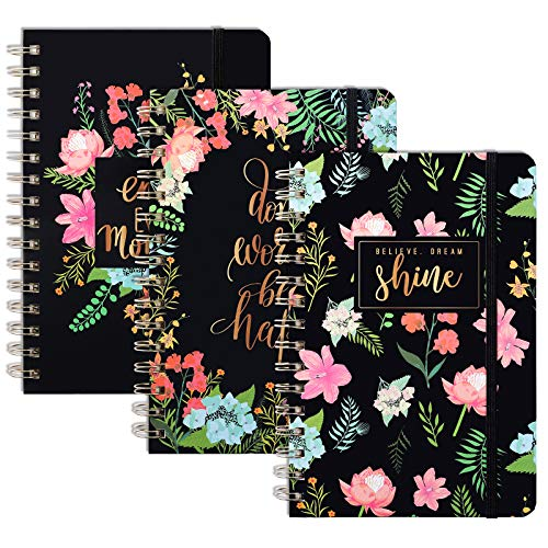 """LABUK 3 Pack Ruled Notebook/Journal A5 - Hardcover Spiral Lined Journal with Back Pocket, 5.5"""" X 8.3"""", Strong Twin-Wire Binding with Premium Paper, Floral Pattern for School Office Home"""