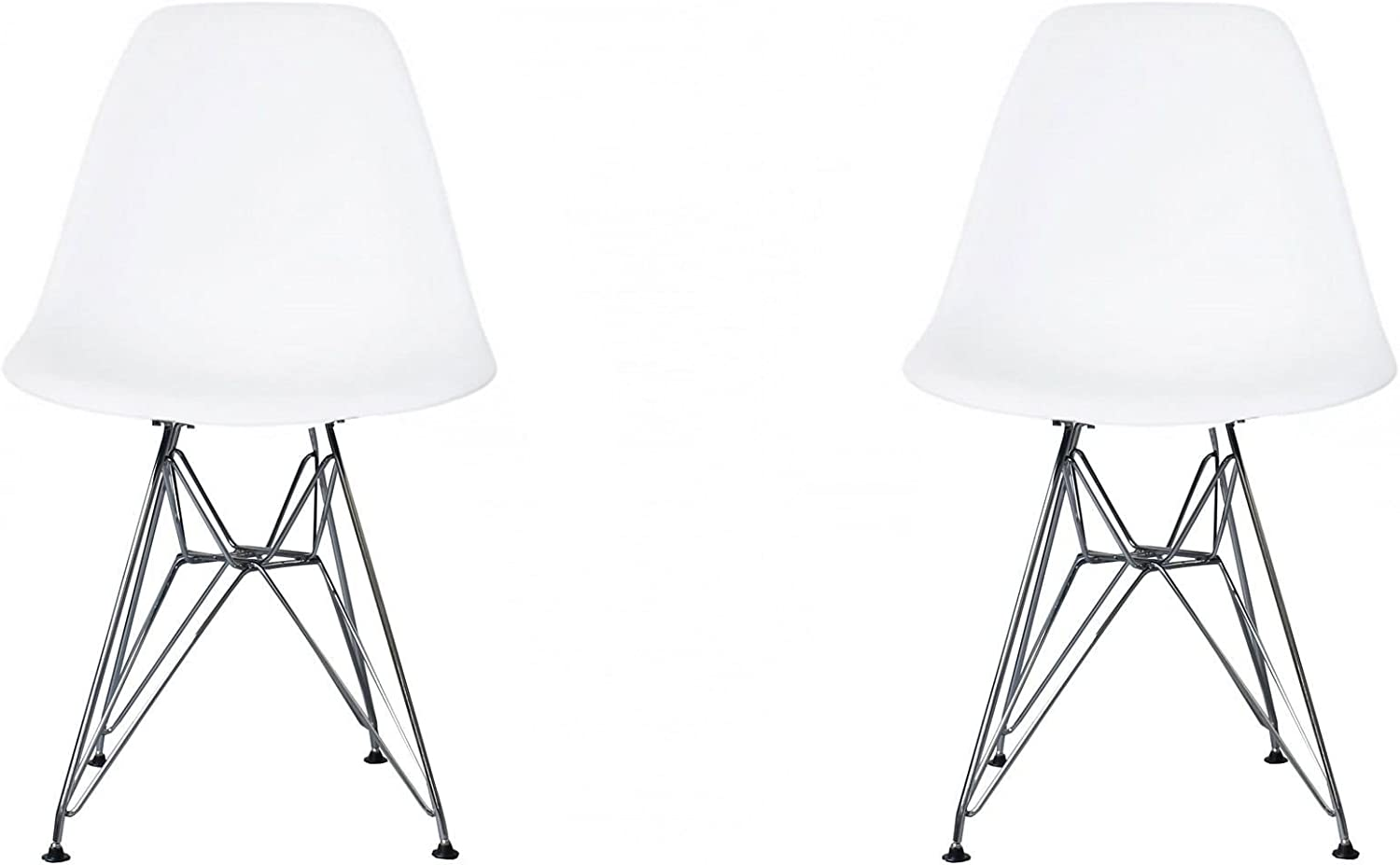 Meubles House S2-PC-0116-W Eames Style Side Chair-Modern Eiffel Style Adult Dining Chrome Metal Base-White (Set of Two)