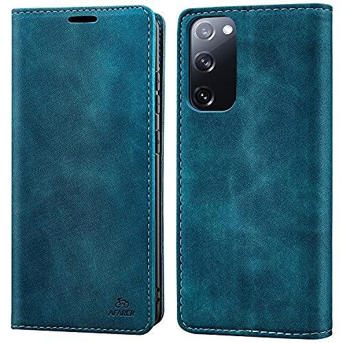 AFARER Einfache Art Brieftasche Handyhülle Kompatibel mit Samsung Galaxy S20 FE / S20 FE 5G - Blau