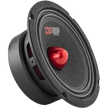 "DS18 PRO-GM6B Loudspeaker - 6.5"", Midrange, Red Aluminum Bullet, 480W Max, 140W RMS, 8 Ohms - Premium Quality Audio Door Speakers for Car or Truck Stereo Sound System (1 Speaker)"