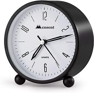 Alarm Clock.Mensent 4 inch Round Silent Analog Alarm Clock Non Ticking,with Night Light, Battery Powered Super Silent Alarm Clock, Simple Design Beside/Desk Alarm Clock (Black)