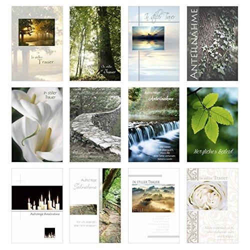 Edition Seidel Set 12 einfühlsame Trauerkarten/Beileidskarten mit Umschlag. Trauerkarte Beileidskarte mit Spruch schreiben (Doppelkarten/Klappkarten mit Briefumschlag (20036)