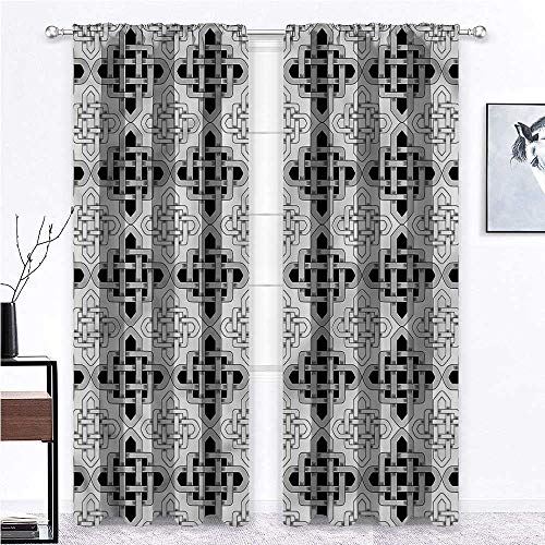 SINXY&CASE Blackout Curtain Celtic Full Light Blocking Drapery Panels Scandinavian Celtic for Bedroom & Kitchen Fully Stitched and Hemmed 2 Rod Pocket Panels, 42' W x 45' L
