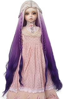 MUZI Wig 1/3 BJD SD Doll Wig, High Temperature Fiber Long Wave White Pink Purple Ombre Color Wigs for 1/3 BJD SD Dolls (White Purple)