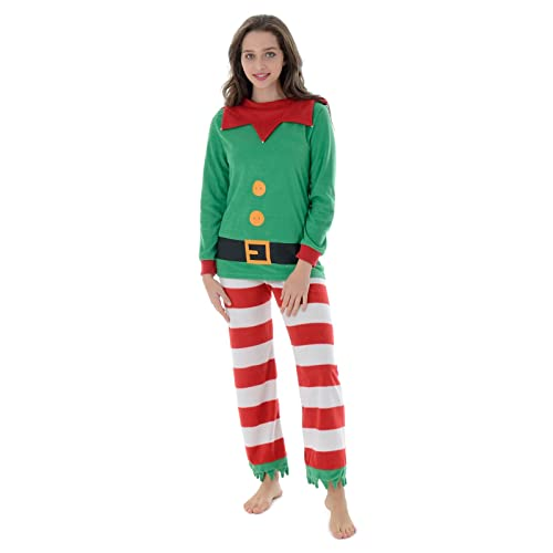 0f1fca140b Autumn Faith Womens Christmas Mummy Elf Fleece Pyjamas Set Ladies Santas  Little Helper Red   Green