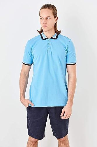 LFNANYI T-Shirt à Manches Courtes en Sueur de Coton Confortable pour Hommes Bleus à Manches Longues
