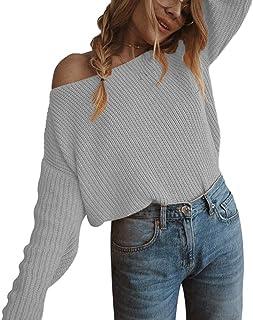 Hombro de la Manga de Las Mujeres suéter suéter suéter de Punto de Las Mujeres de Largo Flojo Puentes de Gran tamaño suéter