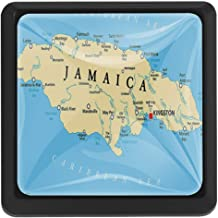 Jamaican Tapestry, Map of Jamaica Kingston Caribbean Sea Important Locations in Country 3 Pack of Square Kitchen Cupboard Knobs Drawer Pulls with Glass