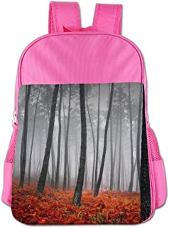 Mystic Forest Trees and Leaves Red Grass Children School Backpack Carry Bag For Kids Boys Girls