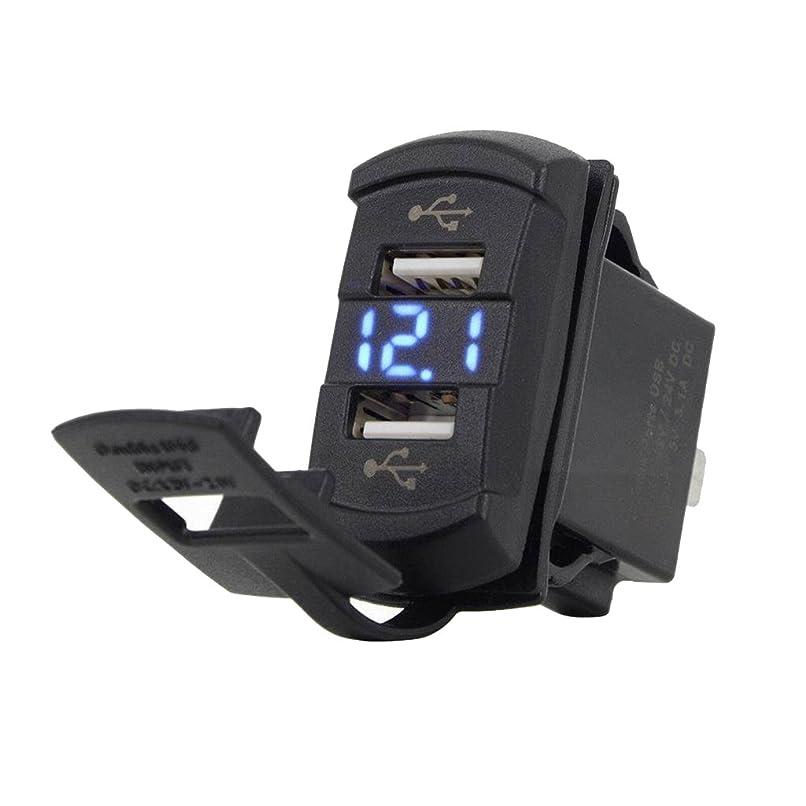 尊敬するミッション式gazechimp 高電流 デュアル USB 車用充電器 USBチャージャー ソケット 4.2A LED電圧計アダプタ - 青