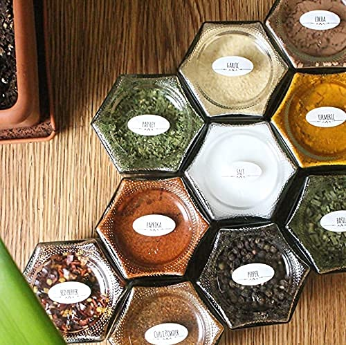 10 Premium Magnetic Spice Jars   Ultra Strong Magnets   Waterproof Labels