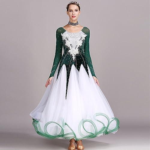 Lady Hand Brodé Danse Moderne Robe Grande Pendule Jupe GB Danse Robe De Danse Concours Perforhommece Robe Strass Danse Costume Tango Valse Jupe,vert,XXL