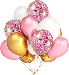12Pcs 12 Inches Gold & Pink Confetti Balloons and 30Pcs Gold & Pink & White Color Latex Party Balloons,Baby Shower Graduation Celebration Party Decoration Supplies