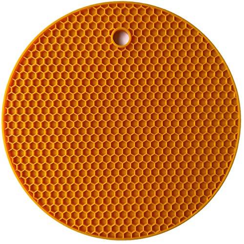 QLJ Tappetino in Silicone Extra Spesso Tappetino Rotondo a Nido d'Ape Tappetino Isolante in Silicone Antiscivolo Tovaglietta per Uso Domestico - Arancione
